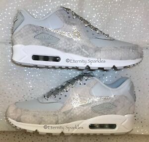 the latest 87295 42e9e Image is loading CUSTOMISED-SILVER-amp-GREY-CRYSTAL-SPARKLE-NIKE-AIR-