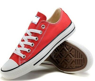 Zapatos para Hombre Mujer Unisex Lienzo Rojo Zapatillas 6-10 Low Top Classic