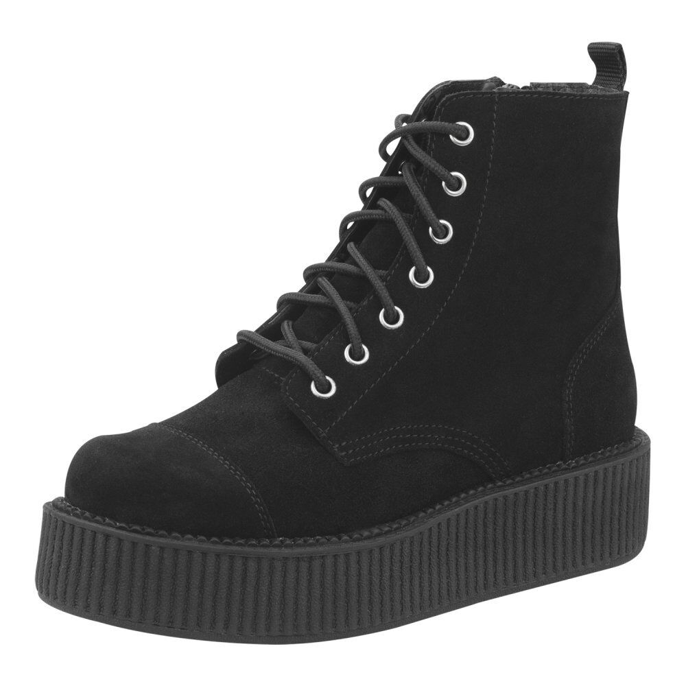 T.U.K. A8642L Tuk Punk Ladies shoes Black Suede Viva Mondo Boots Lace Up