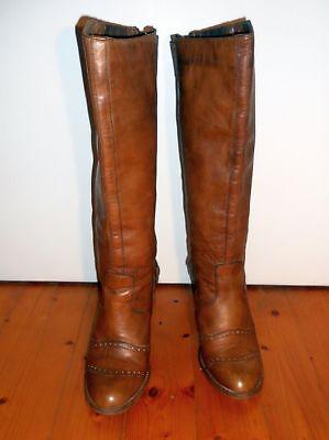 100% Wahr Belstaff Roadmaster Stiefel Damenstiefel Mittelbraun (cognac) Gr. Eur 36 Taille Und Sehnen StäRken