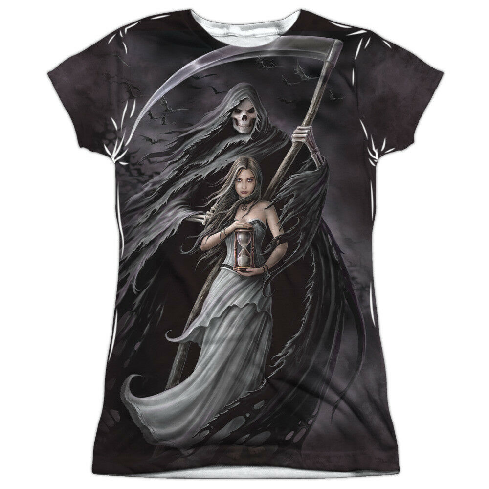 Anne Stokes Gothic Fantasy Artist Summon The Reaper Junior 2Side Print T-Shirt T