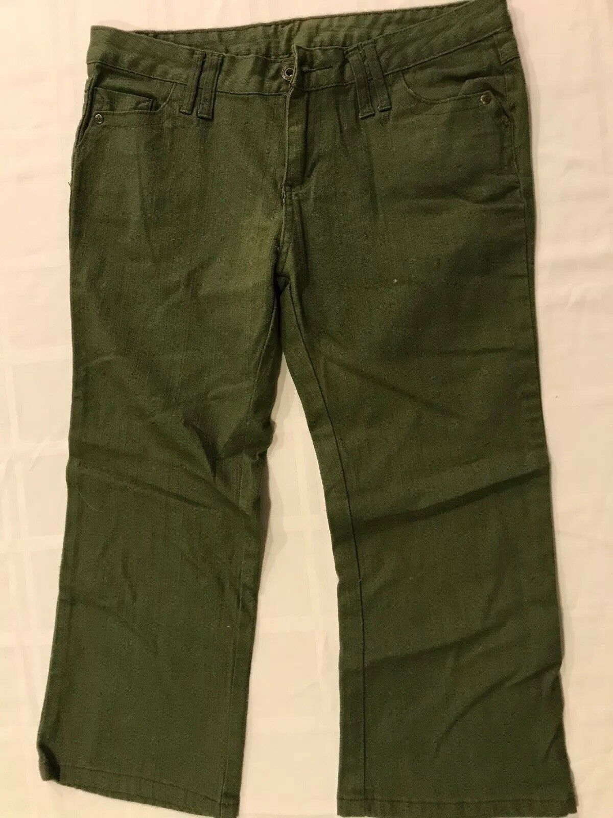 PrAna Womens Sz 6 Green Capri Cropped Pants Stretch Low Rise TS8
