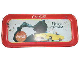Vintage-Coca-Cola-034-Drive-Refreshed-034-Metal-Rectangular-Serving-Tray-Coke-Brand