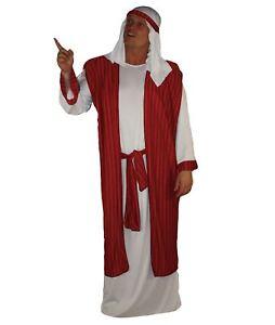Adults-Red-Christmas-Arab-Costume-Arabian-Party-Night-Fancy-Dress-Shiek-X-Mas