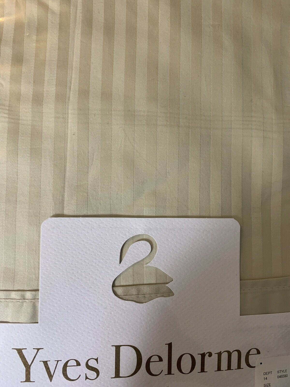 Yves Delorme Striped König Flat Sheet Taupe 100% Egyptian Cotton