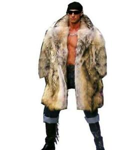 Furry Chic Mens Faux Fox Fur Coat Hooded Casual Mid Long Thick Overcoat Parkas