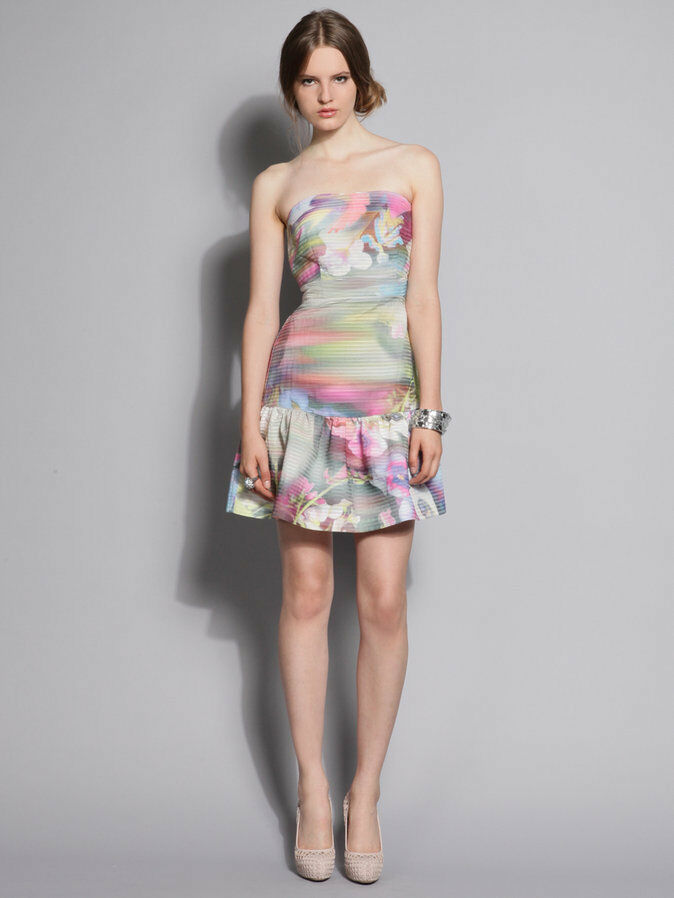Cynthia Rowley Foggy Floral Silk Dress bridesmaid fit and flare rainbow