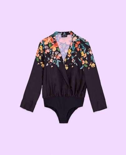 Zara Bodysuit With Lapel Collar Size M