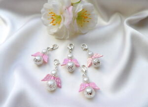 10-50 Filigran Schutzengel perlmutt weiss Glanzflügel rosa Regenbogenfarben