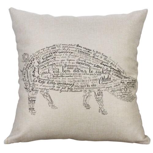 18/'/' Letter animal Pattern Cotton Linen Pillow Case Cushion Cover Home Decor