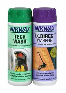 Nikwax Tech Wash & TX Direct 300ml Twin Pack Cleaning Waterproof Outdoor Wear 5020716010303