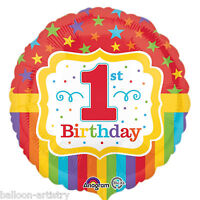 "18"" Rainbow Colours Happy 1st Birthday Children's Party Round Foil Balloon"