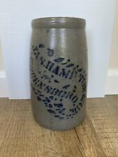 Antique JAS HAMILTON & CO Stoneware Crock Greensboro PA