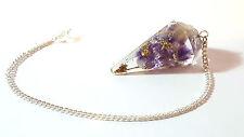 Faceted ORGONE Healing Amethyst Crystal & Gold Colour Metal  Dowsing Pendulum h4