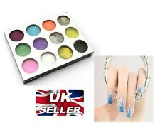 12 Colors Nail Art Glitter Tips Decoration Dust Set Kit for UV Gel Acrylic-NEW
