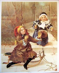 art-print-READY-FOR-SNOW-Victorian-Girls-Playing-winter-vtg-repr-17x21-children
