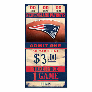 New-England-Patriots-Old-Game-Ticket-Holzschild-30-cm-NFL-Football-Wood-Sign