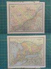 Quebec Ontario Vintage Original 1886 Cram's World Atlas Map