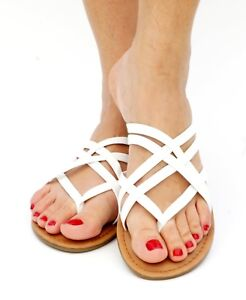 Women's Sandal Flip Flop Striped Gladiator Flat Y-strap Thong Shoes Summer Beach
