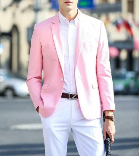 Mens One Button Blazer Jacket Top Coat Formal//Casual Light Pink Coat Chic 2019 S