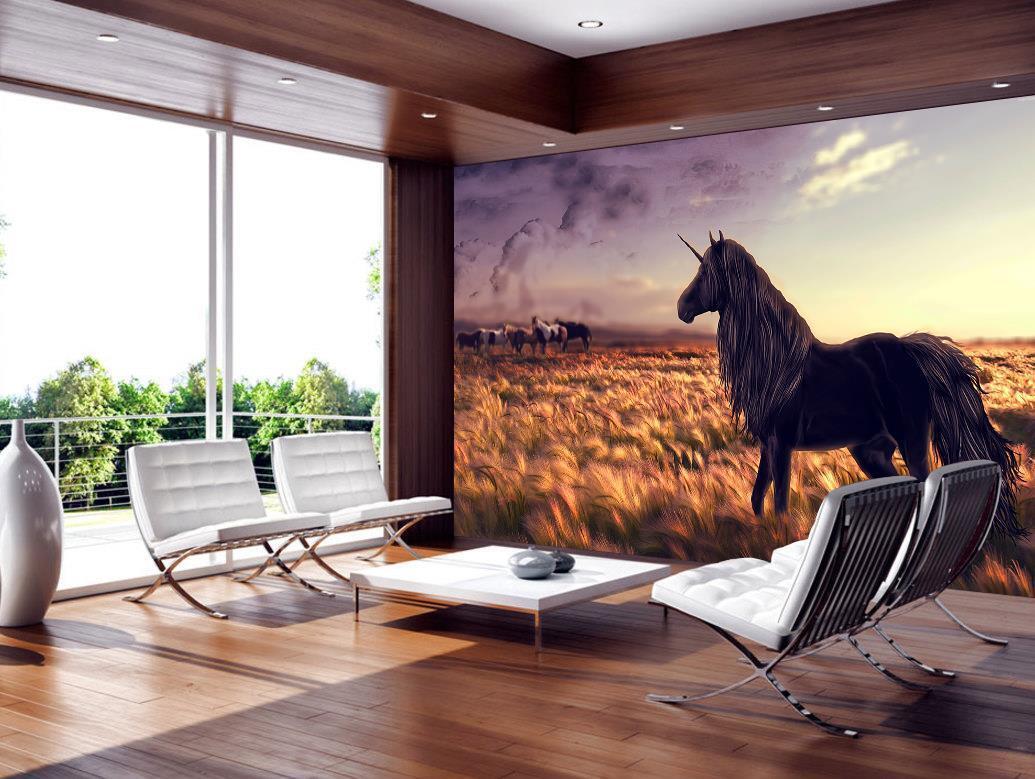 Unicorn Fantasy Wallpaper Woven Self-Adhesive Wall Mural Art Decal M200