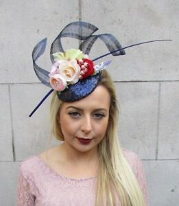 Navy Blue Sequin Rose Feather Flower Hair Fascinator Hat Races Ascot ... e09a09e97a1
