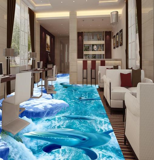 3D Glacier Dolphins 7855 Floor WallPaper Murals Wall Print Decal 5D AU Lemon