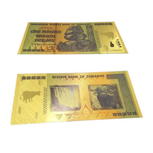 2008 Zimbabwe 100 Trillion Banknote Gold Bill World Money Value Collection Gift