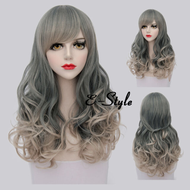 60CM  Long Gary Gradient Blonde Curly Harajuku Women Daily Cosplay Party Wig