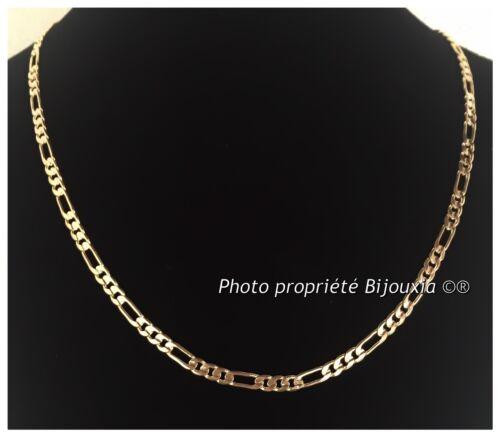 Chaîne Maille Figaro Diamantée 60 CM Plaqué Or 18 carats Garanti NEUF Bijoux