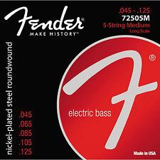 Fender 72505M Nickel Plated Steel Electric Bass Guitar Strings 45-125; 5-string