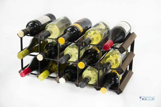 Cranville Weinregal Aufbewahrung 15 Flasche Dunkel Oak Fleck Holz Schwarz