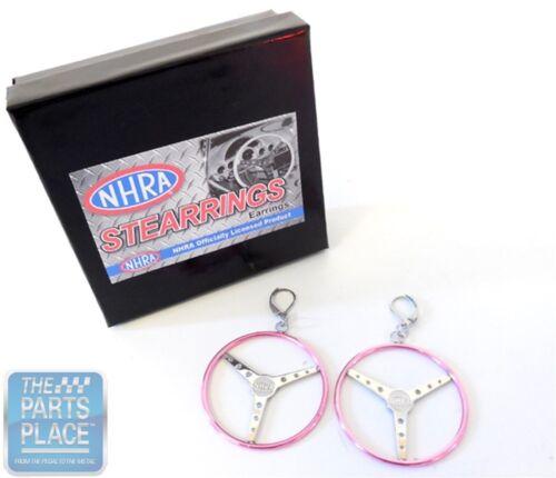 """Officially Licensed NHRA /""""Stearrings/"""" Earrings Pink Pair"""