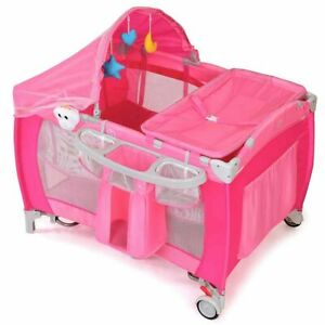 Foldable Baby Crib Playpen Travel Infant Bassinet Bed Mosquito Net w/ Bag Pink