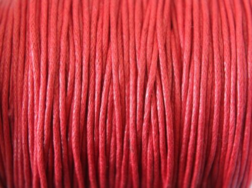 10 metres 1mm Waxed Cotton Cord Jewellery Stringing 28 Various Colours