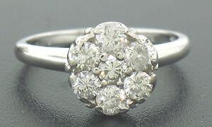 14k-Blanc-Solide-Or-0-91ctw-7-en-Relief-Rond-Brillant-Coupe-Diamant-Bague-Grappe