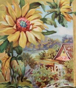 Bright-Cheery-Birthday-Greeting-Embossed-Sunflower-Country-Cottage-Scene-C1911