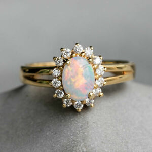 1Ct-Oval-Cut-Fire-Opal-Women-039-s-Engagement-Wedding-Ring-in-14K-Yellow-Gold-Over
