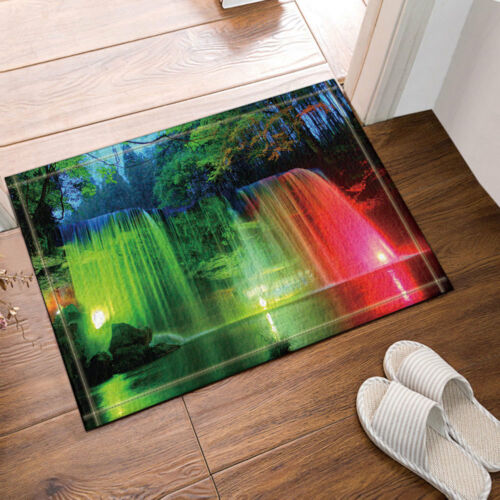 Waterfall With Colorful Light Non-Slip Outdoor Indoor Front Door Mat bathroom