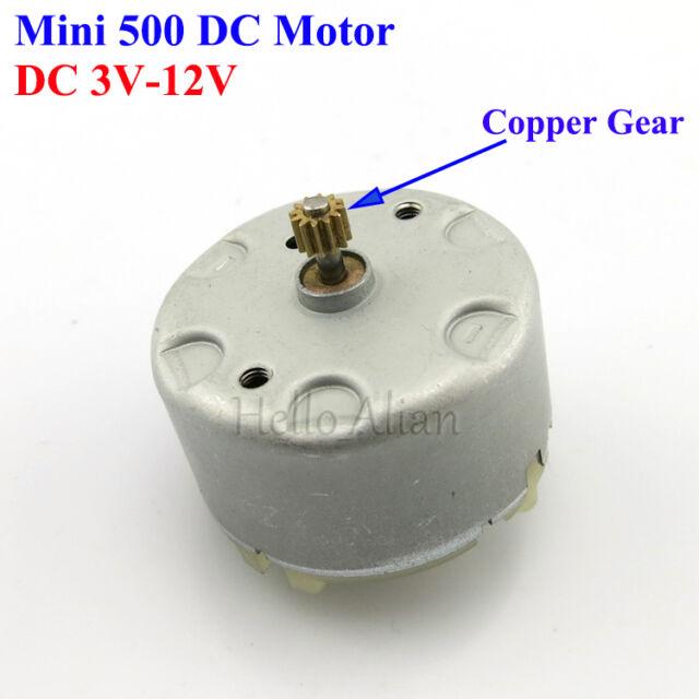 RF-500TB-12560 DC3V-12V 6V Micro Mini Electric Motor Copper Gear DIY Solar Model