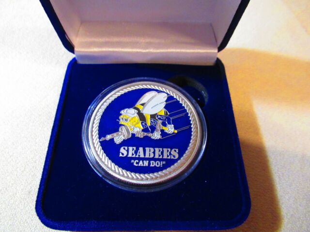 """US NAVY SEABEES /""""CAN DO!/"""" Challenge Coin w// Presentation Box"""