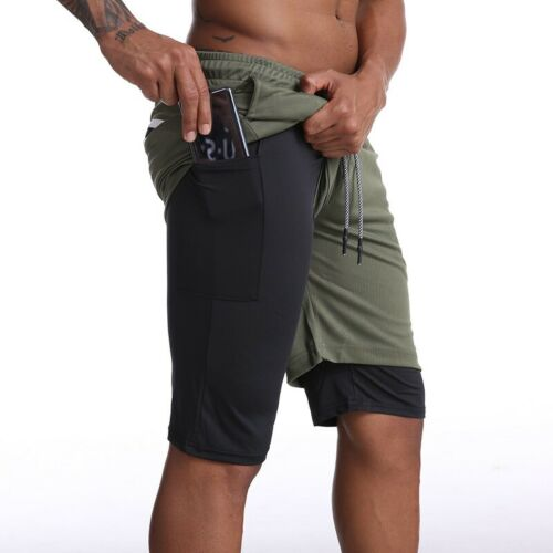 Men 2in1 Running Shorts Gym Fitness Quick Dry Beach Short Pants Sports Workout