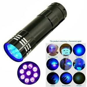 HOT Mini Aluminum UV Ultra Violet 9LED Flashlight Blacklight Torch Light Lamp UK