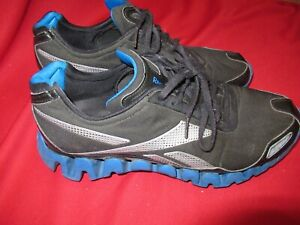REEBOK-ZIG-TECH-PULSE-Black-Blue-sole-Men-039-s-Running-Shoe-Sz-10-1-2