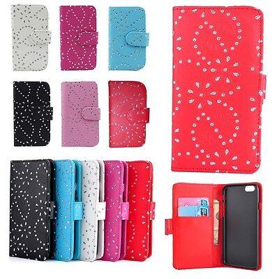 Bling Diamond Flip Leather Wallet Case Cover For Various Samsung Mobile Phones