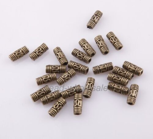 50pcs NEW Retro Tibetan Silver Column Tube Spacer Beads for DIY Jewelry Making .