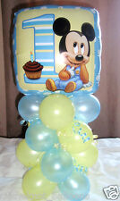 """18"""" FOIL BALLOON  TABLE DECORATION DISPLAY MICKEY MOUSE 1ST BIRTHDAY AGE 1 B/L"""