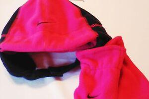 New girls Nike winter trapper hat mittens set 12-24 months pink white sparkles