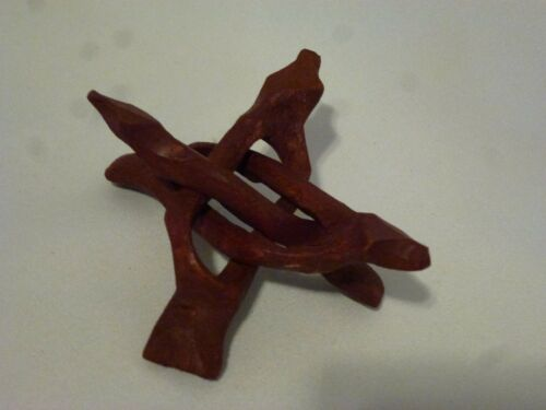 Set of TWO Wood Cobra Display Stand Hand Carved Wood 4 Inch