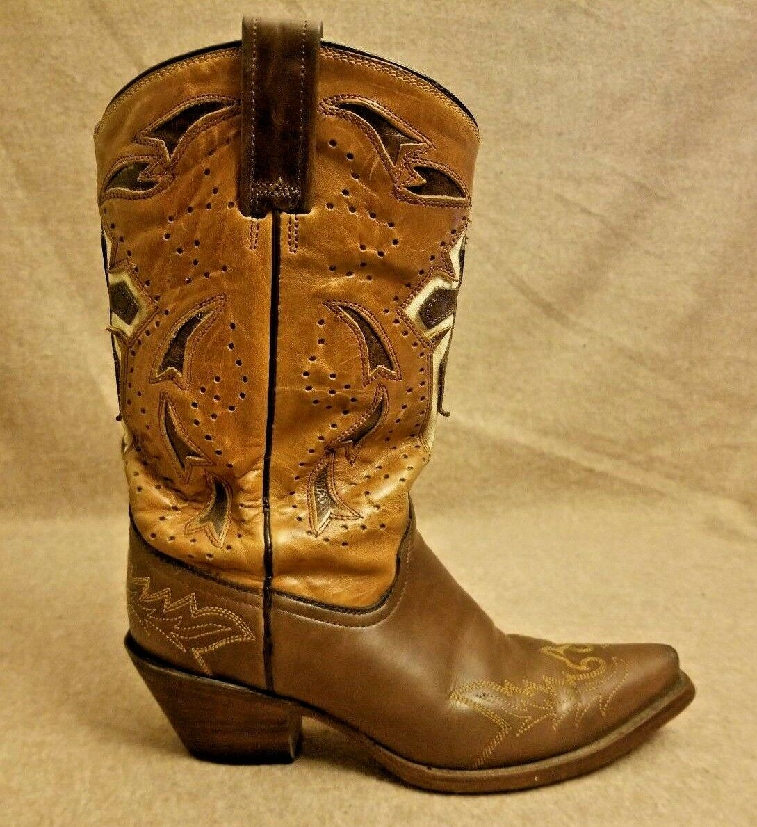 Corral femmes marron Cross Distress Leather Western Pull On Snip Toe bottes Sz 6.5M